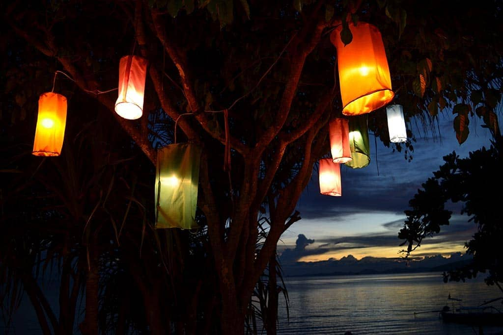 beachside celebration of Loy Krathong lantern festival in Chiang Mai