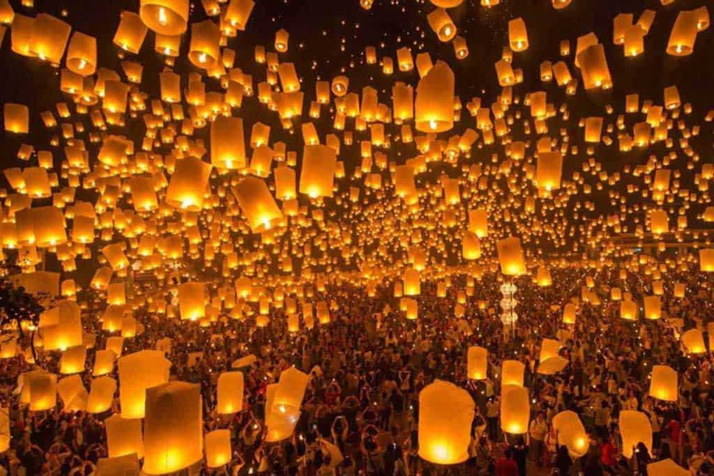 Lantern launch at Loy Krathong lantern festival in Chiang Mai