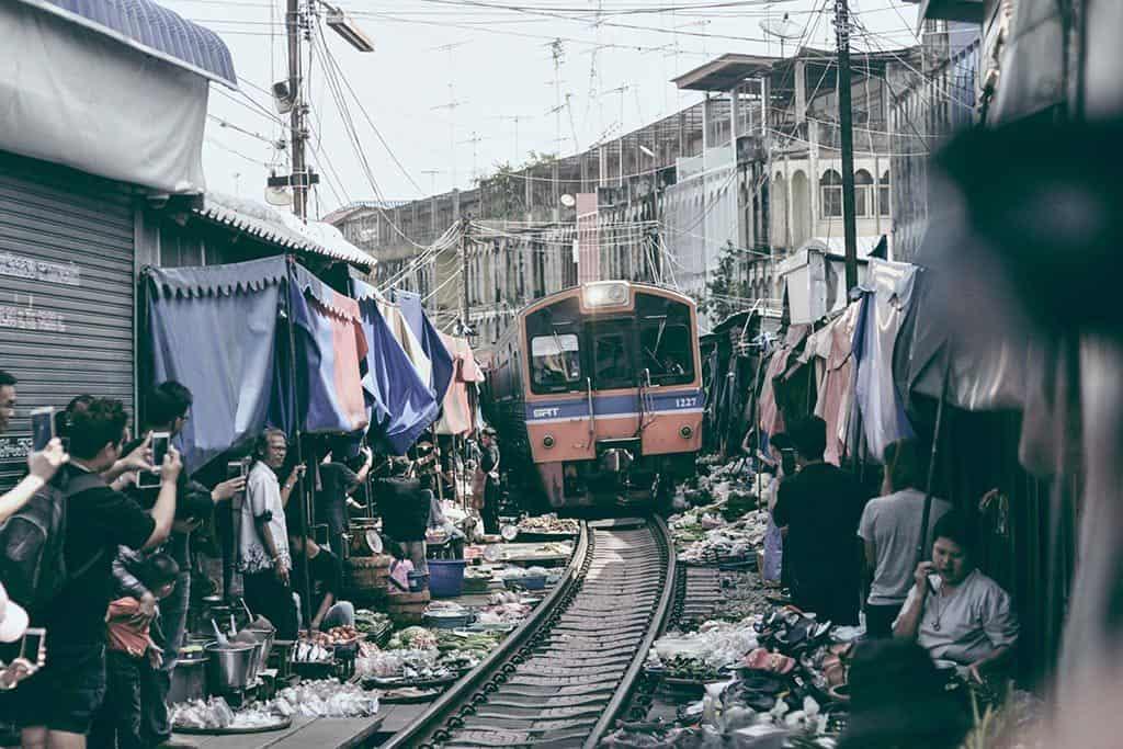All aboard for The Maeklong Train Market!