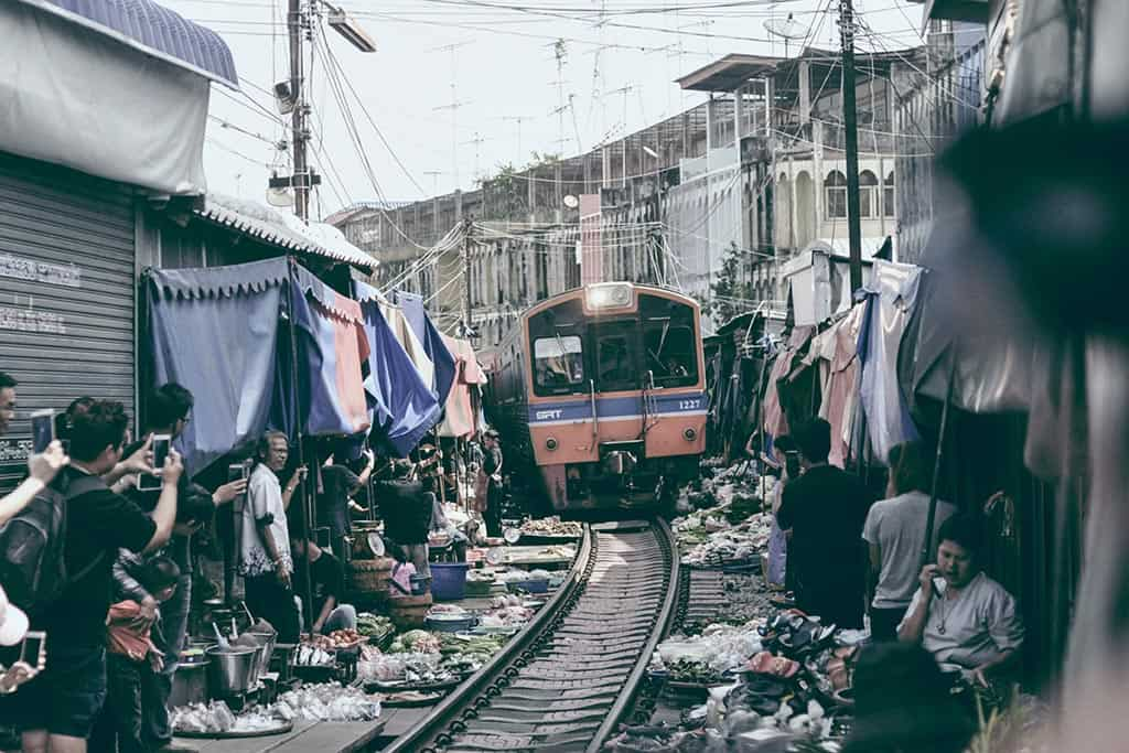 All aboard for The Maeklong Train Market!