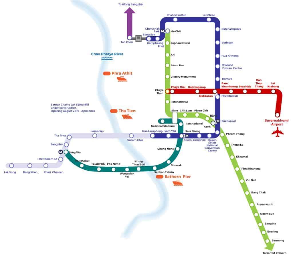 Bangkok BTS map with MRT stops