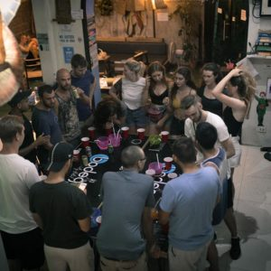 drinking games at Bodega Bangkok Party Hostel