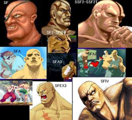Sagat over the years of the Street Fighter series
