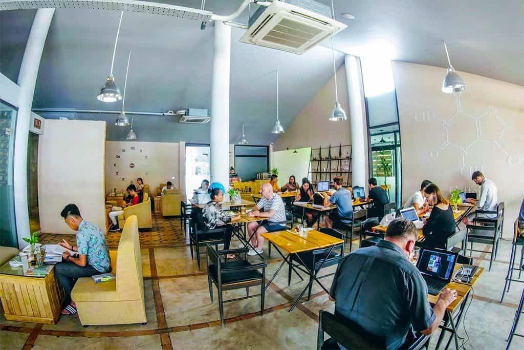 BIOlab Coffee coworking space in Siem Reap